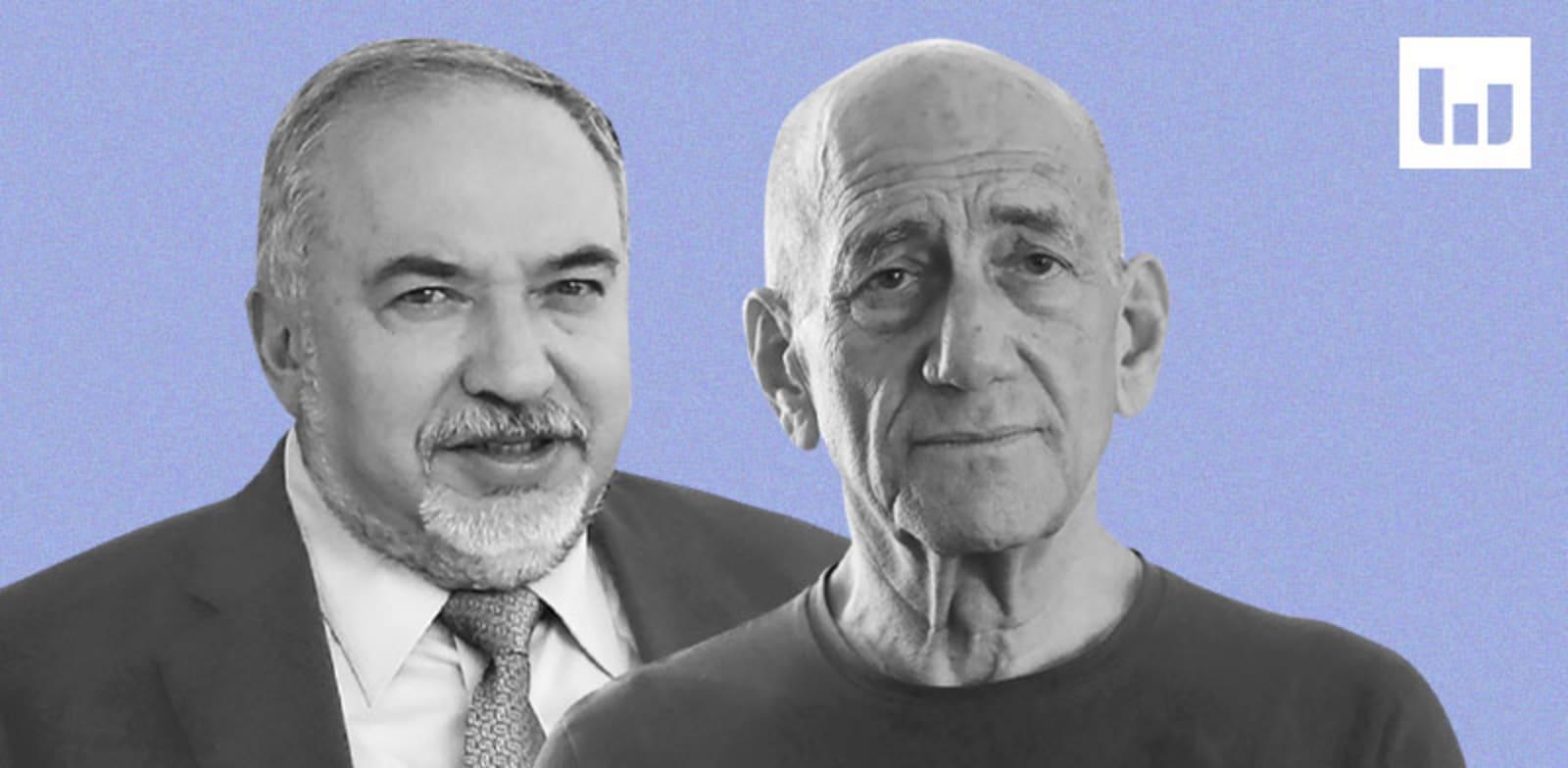אהוד אולמרט, אביגדור ליברמן / צילום: שלומי יוסף, יוסי זמיר