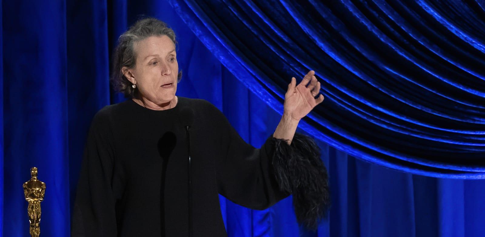 השחקנית פרנסס מקדורמנד בטקס האוסקר / צילום: Reuters, A.M.P.A.S