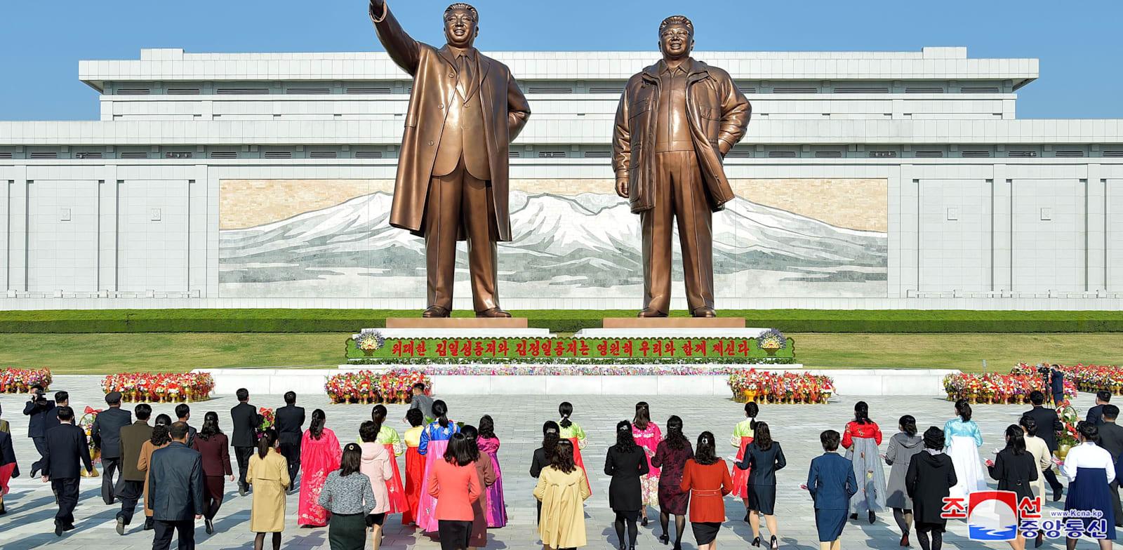 חגיגות יום הולדתו ה-109 של מייסד המדינה קים איל סונג בפיונגיאנג, צפון קוריאה / צילום: Reuters