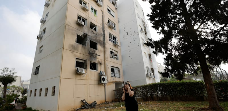 Building in Ashkelon hit by rocket from Gaza Strip credit: Amir Cohen, Reuters