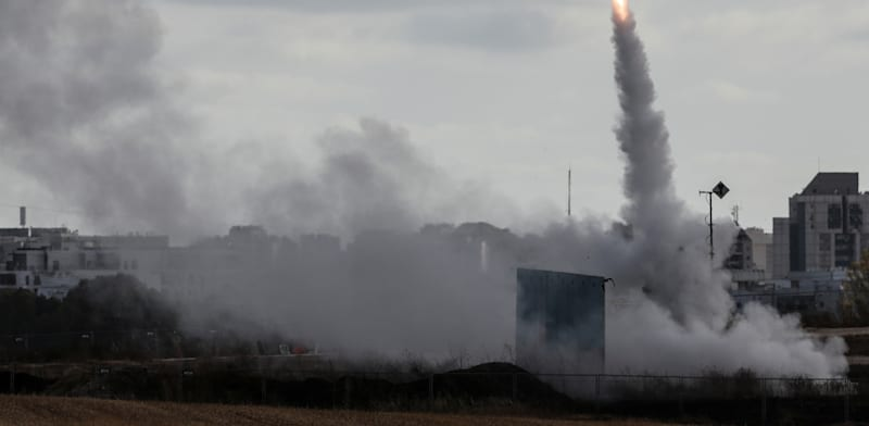 A Tamir missile fired by the Iron Dome system  credit: Ronen Zvulun, Reuters