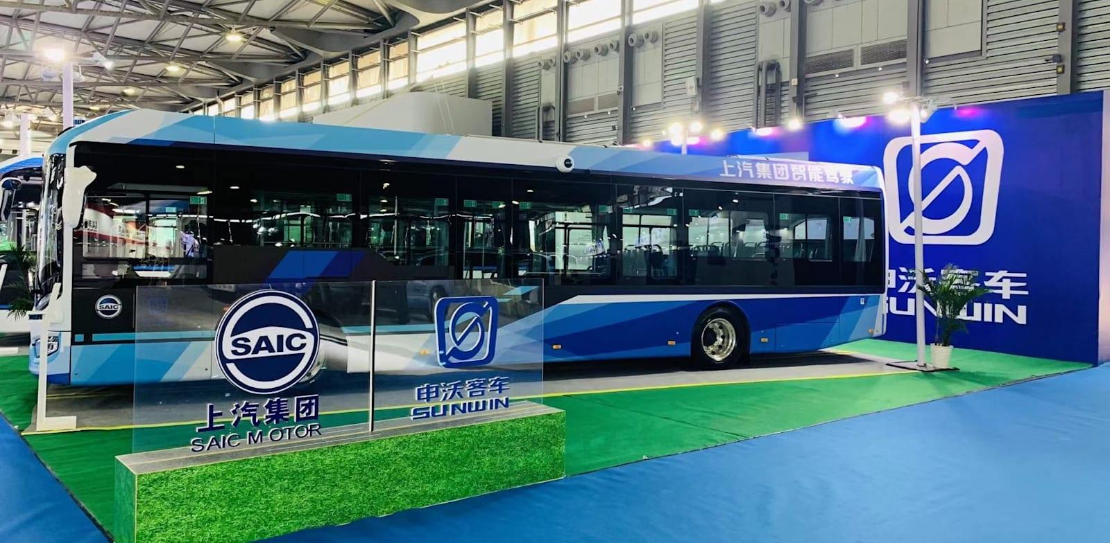 """אוטובוס של חברת SUNWIN. אוטובוס ראשון כבר נמצא בארץ ומבצע ניסויים אצל """"אגד"""" / צילום: יח""""צ"""