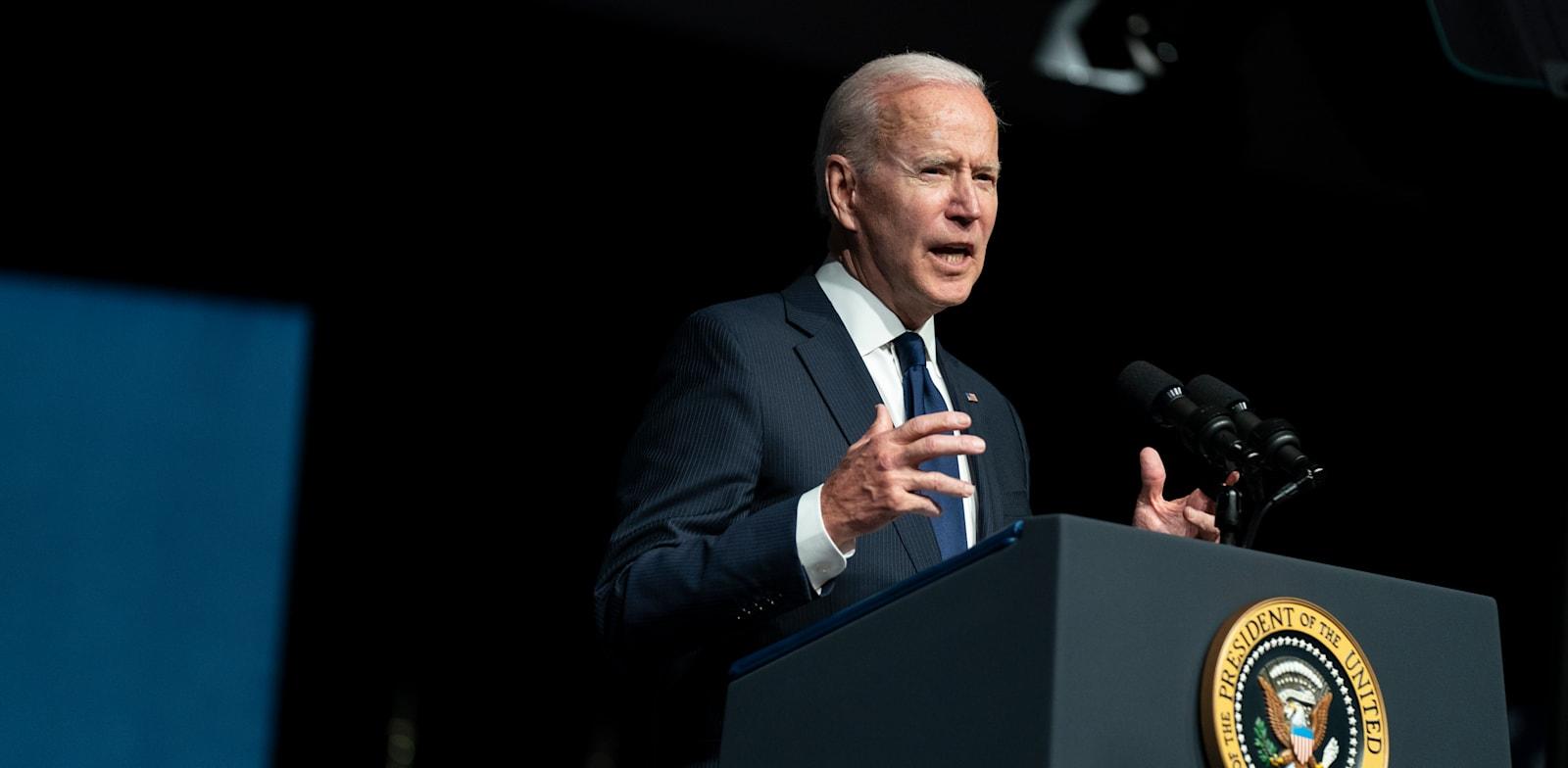 "נשיא ארה""ב ג'ו ביידן נואם בטולסה / צילום: Associated Press, Evan Vucci"