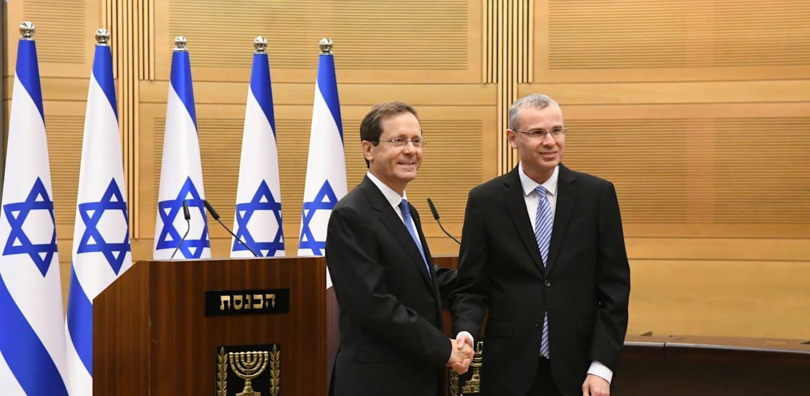 Knesset Speaker Yariv Levin congratulates Isac Herzog Photo: Rafi Kutz