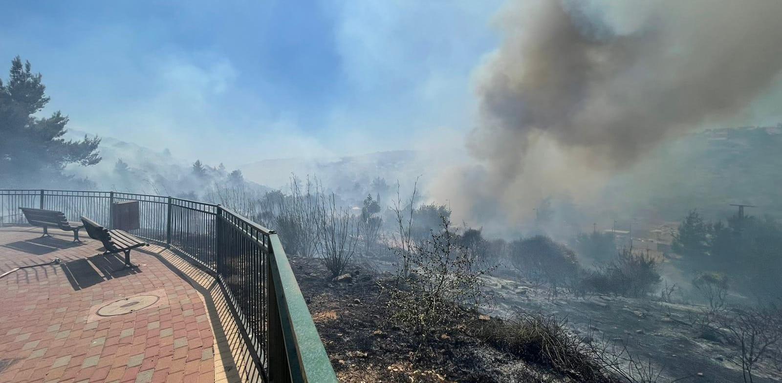 השריפה בצור הדסה אתמול / צילום: דוברות כבאות והצלה