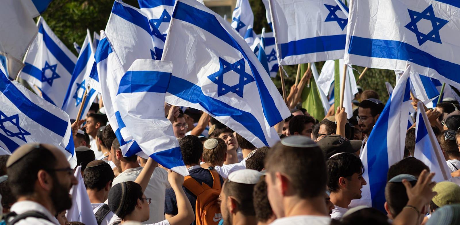 ריקוד הדגלים בירושלים, מוקדם יותר השנה / צילום: Shutterstock, yosefus