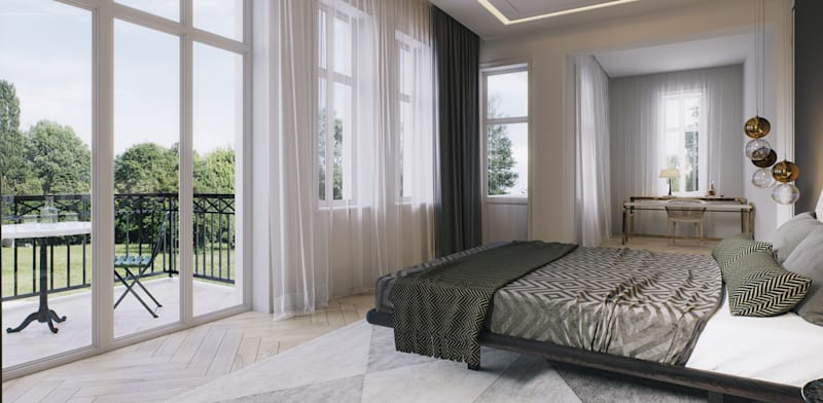 חדר השינה שבקומה הראשונה / הדמיה: 3division