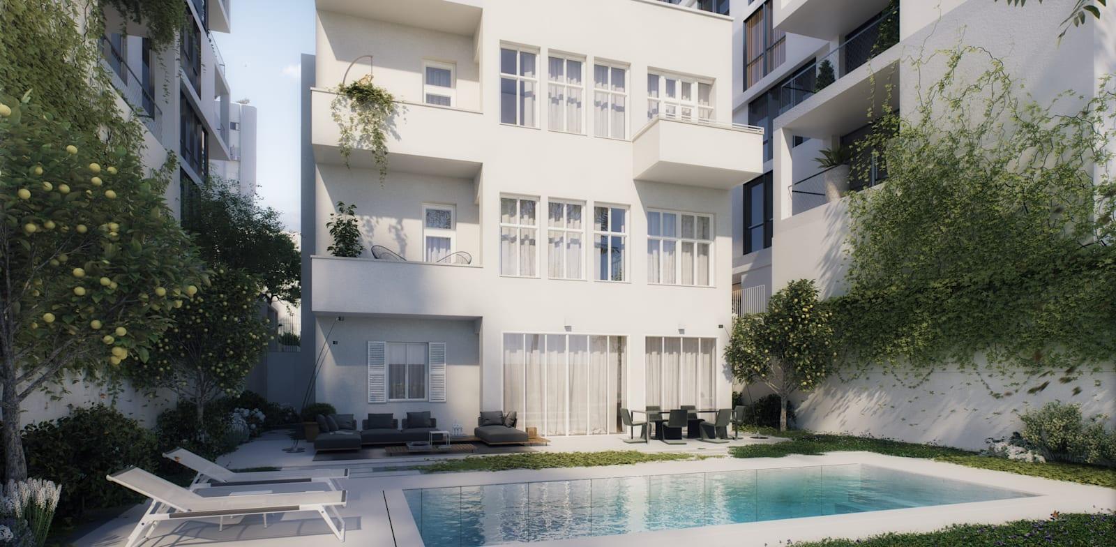 החצר האחורית בבית, שטח פרטי בלב תל אביב / הדמיה: 3division