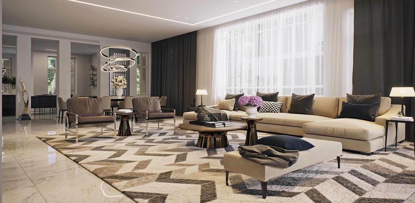 הסלון בקומת הכניסה / הדמיה: 3division