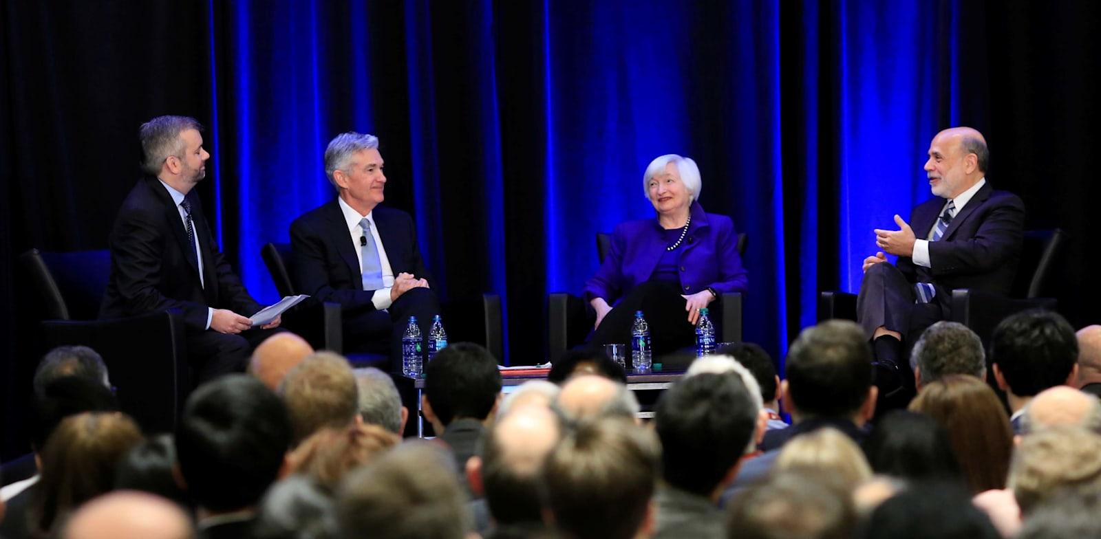 """שרת האוצר ג'נט ילן ויו""""ר הפדרל ריזרב, ג'רום פאוול במפגש של האיגוד הכלכלי האמריקאי / צילום: Reuters, CHRISTOPHER ALUKA BERRY"""