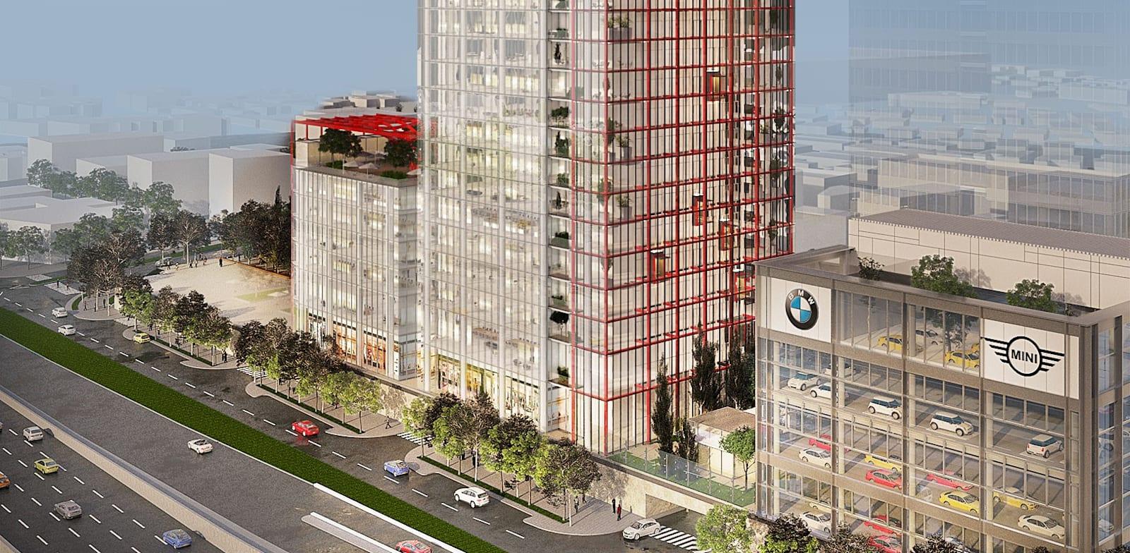 הדמייה של מגדל בנק הפועלים בפרויקט ויתניה תל אביב / צילום: ישר אדריכלים