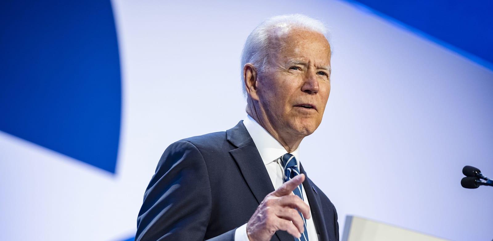 """ג'ו ביידן באסיפת איגוד החינוך הלאומי בארה""""ב / צילום: Reuters"""