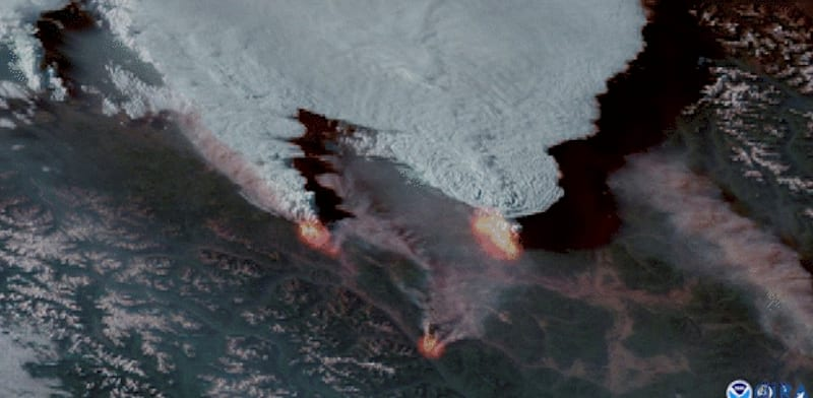שריפה במערב קנדה, בסוף יוני / צילום: Reuters, NOAA