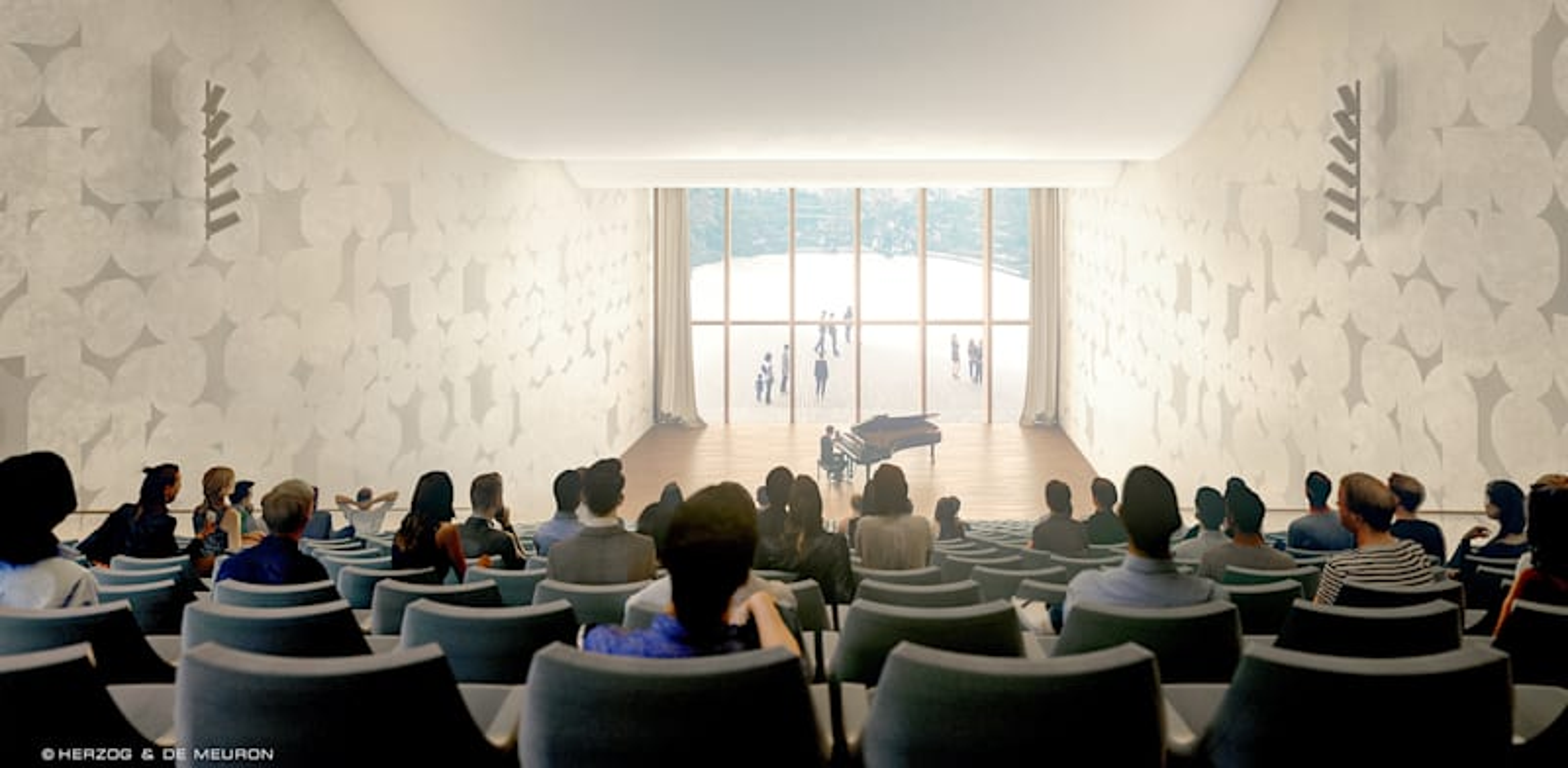 Simulated image of David Geffen Auditorium  credit: Herzog & de Meuron; Mann-Shinar Architects