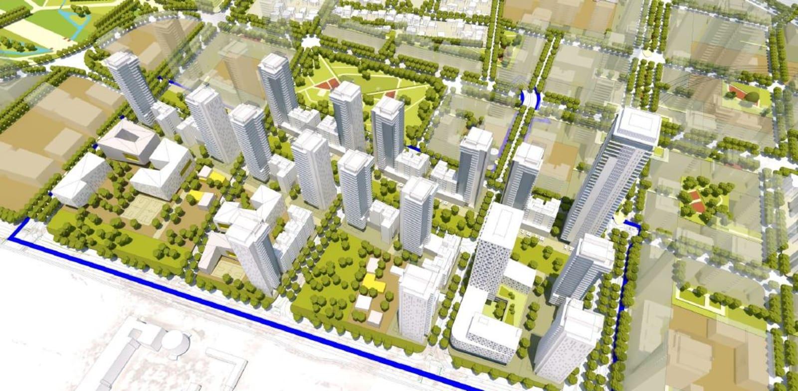 שכונת מגורים חדשה במתחם שדה התעופה הרצליה שעתיד להתפנות / הדמיה: פרחי צפריר אדריכלים