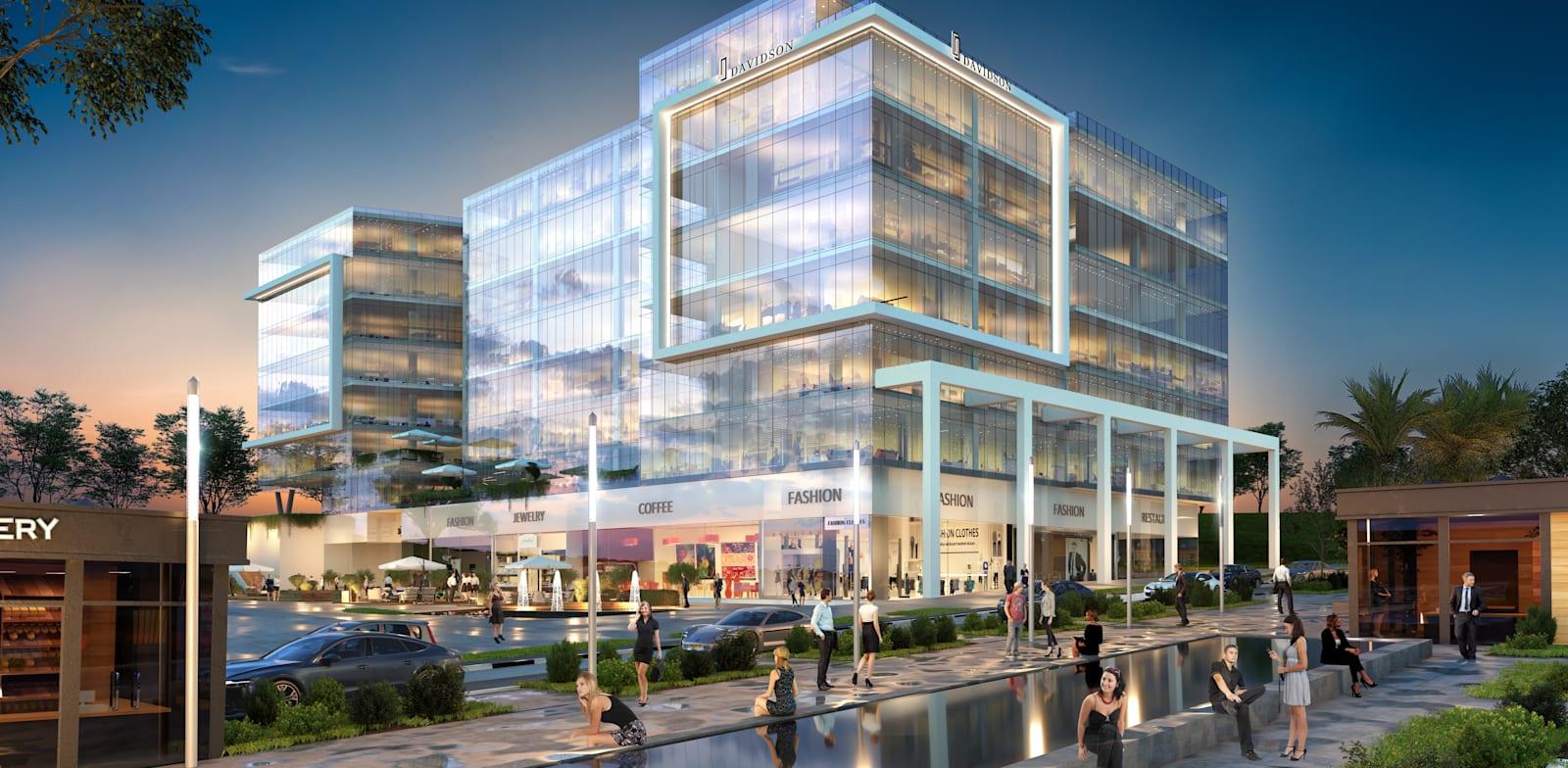 """פרויקט """"דוידסון בשדרה"""" במודיעין. חללי משרדים בגדלים שונים, באזור בעל אופי עירוני שוקק / הדמיה: Viewpoint"""