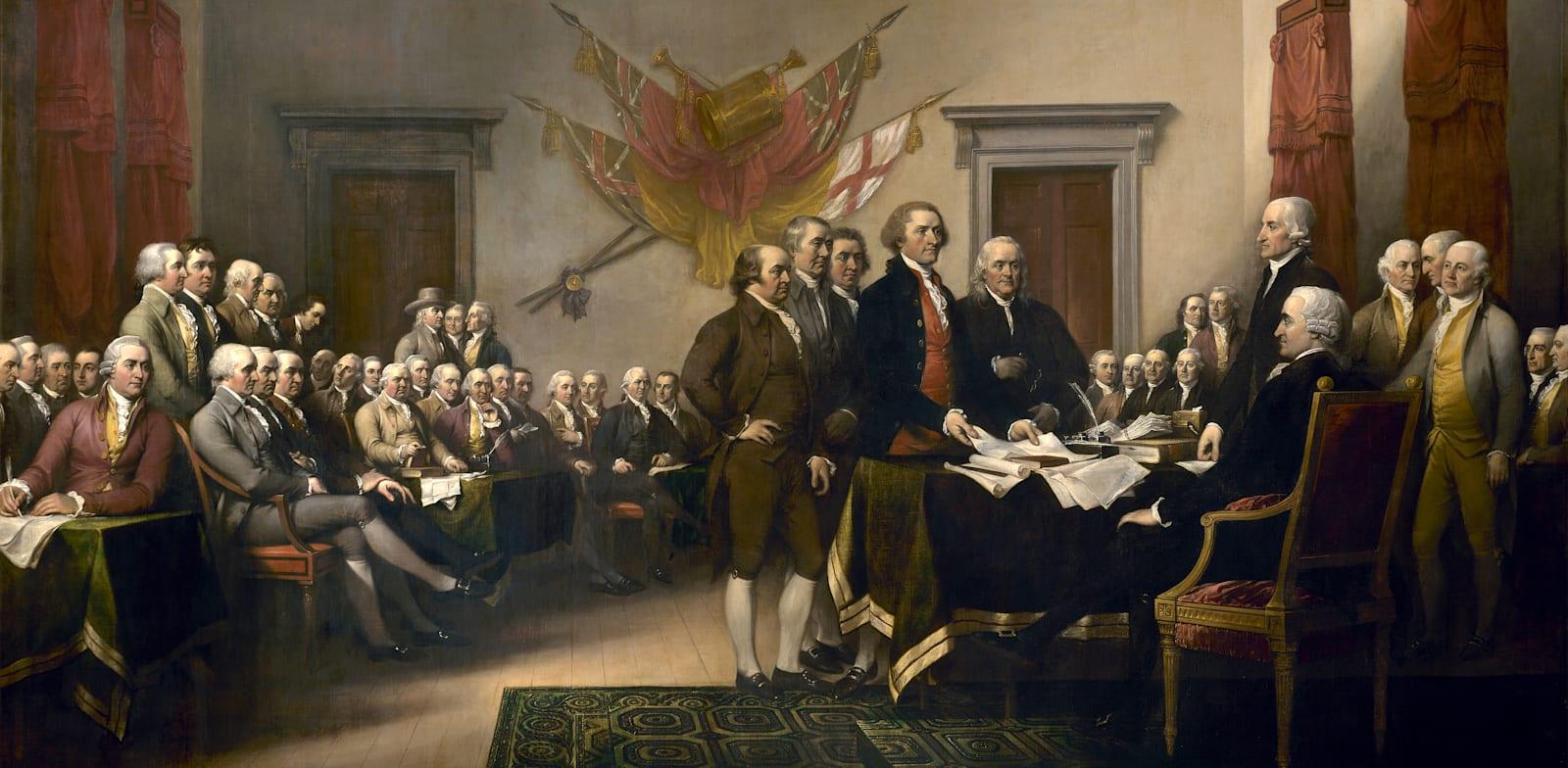 האבות המייסדים של ארה״ב לא סמכו על רצונו החופש של ההמון. ציור של ג׳ורג׳ טראמבלת, 1819 / צילום: מתוך ויקיפדיה by John Trumbull