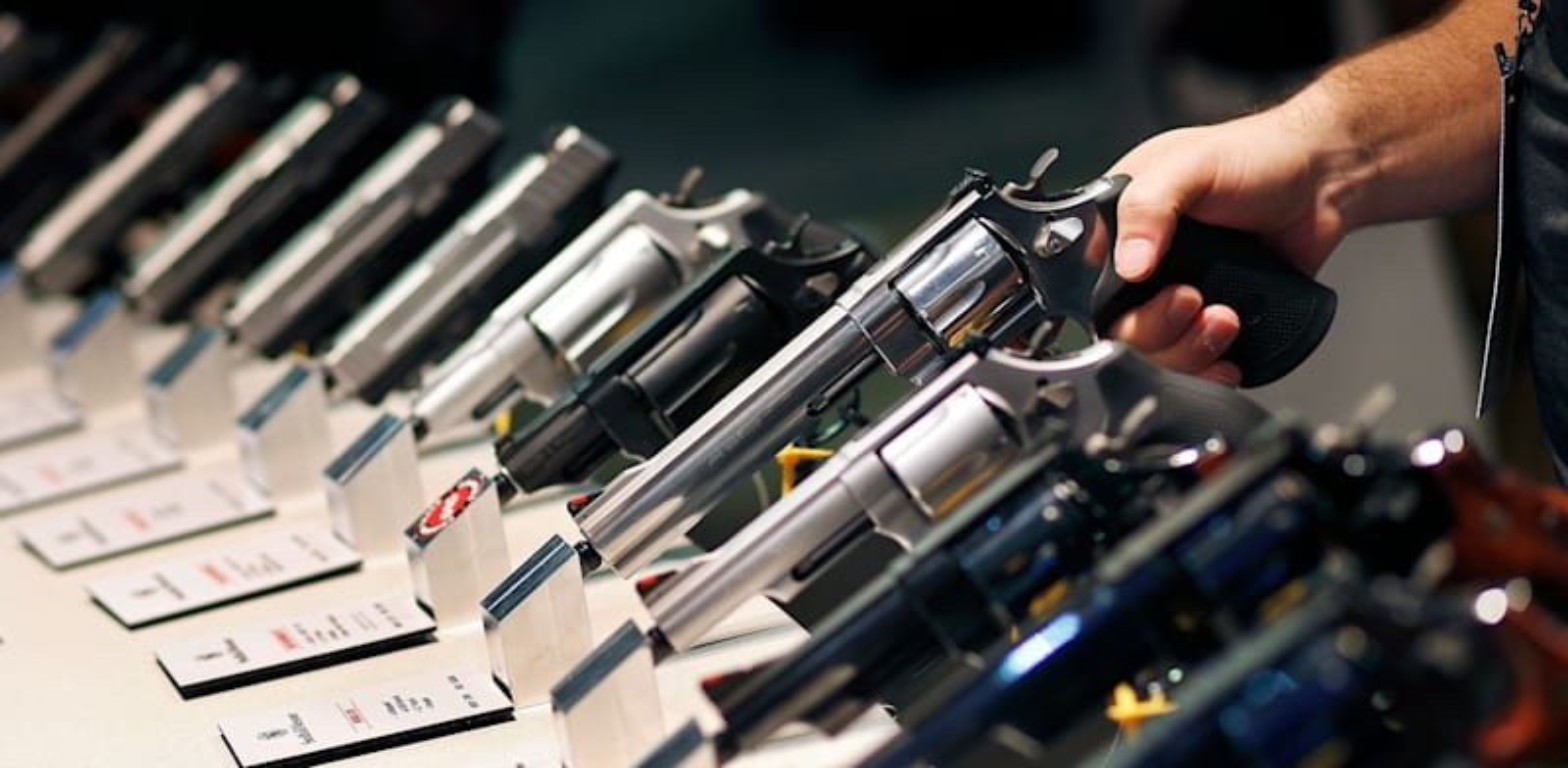 תצוגת אקדחים / צילום: Associated Press, ג'ון לוצ'ר