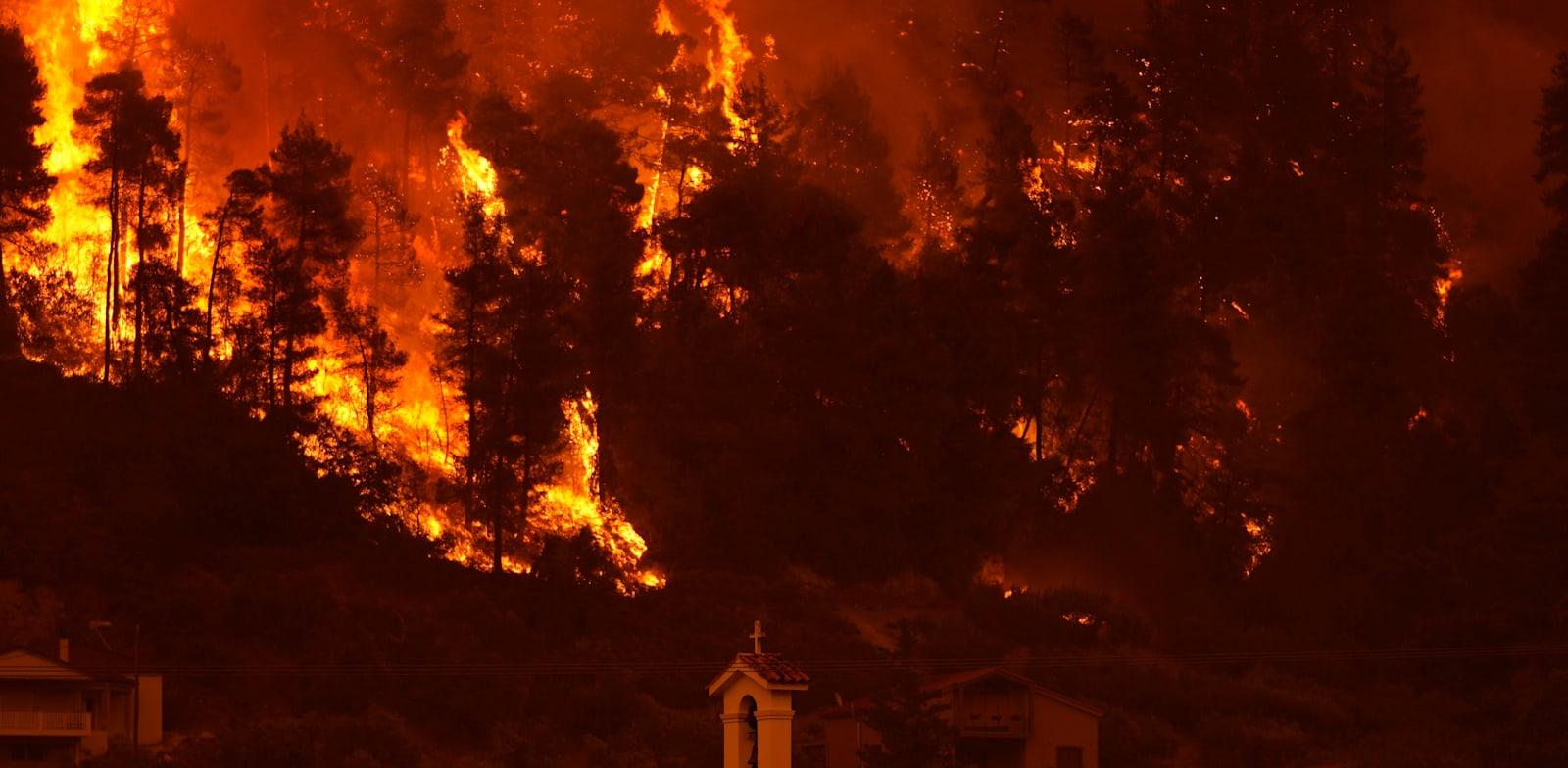 שריפות יער שמשתוללות באי היווני אוויה / צילום: Associated Press, Petros Karadjias