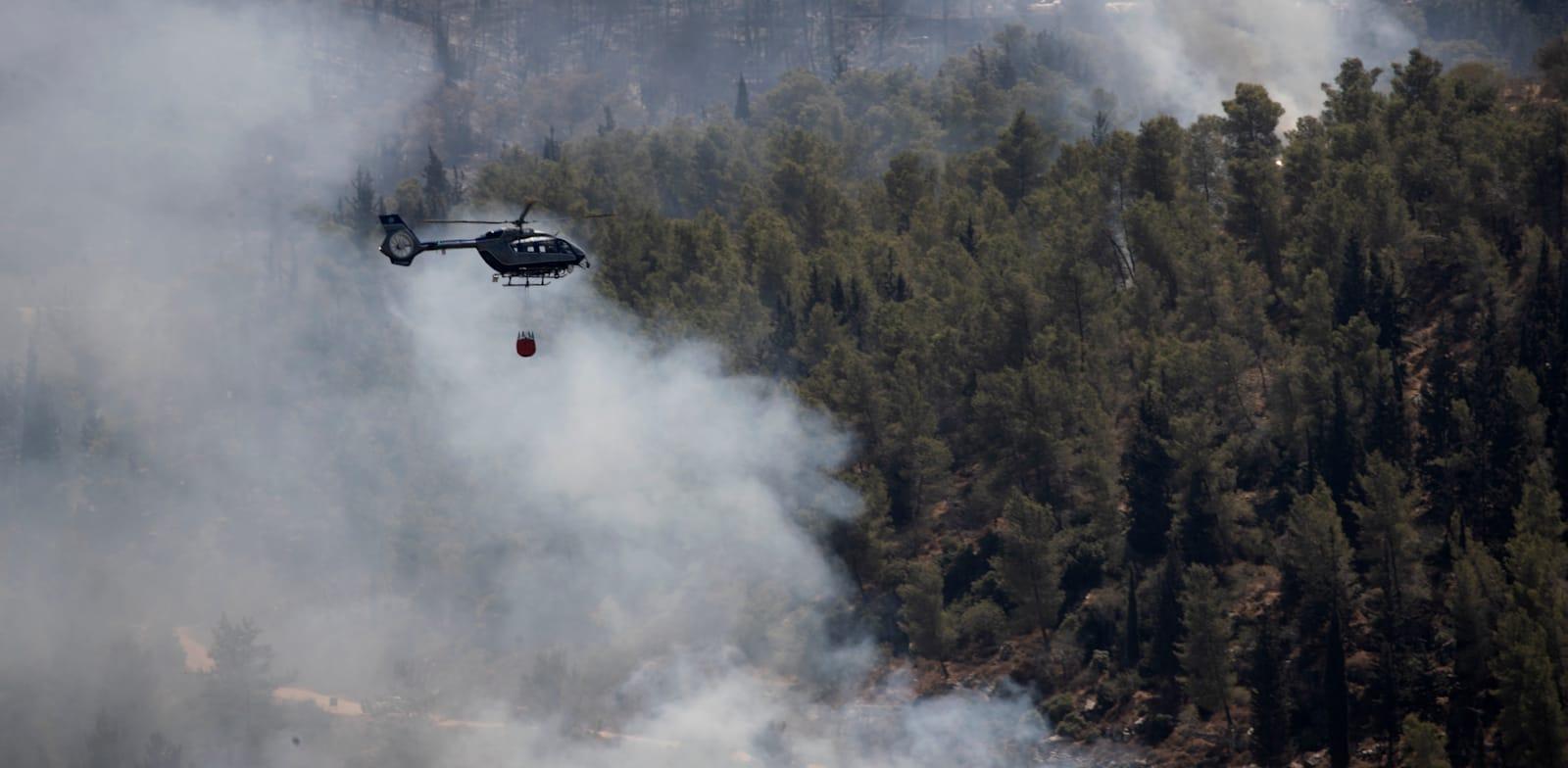 השריפה בהרי ירושלים / צילום: Associated Press, Maya Alleruzzo