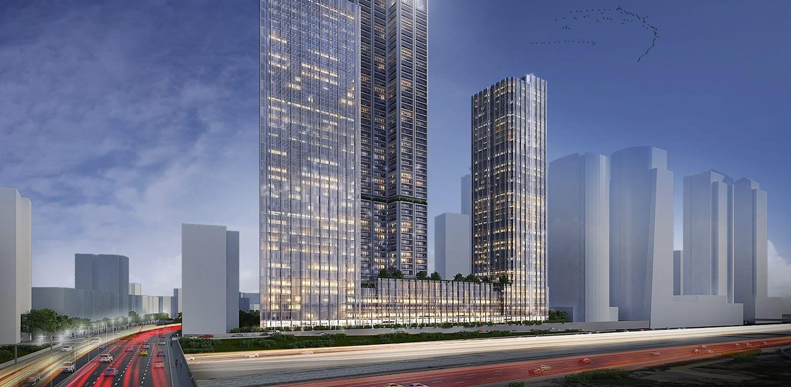 הפרויקט במתחם הבורסה ברמת גן / הדמיה: ישר אדריכלים