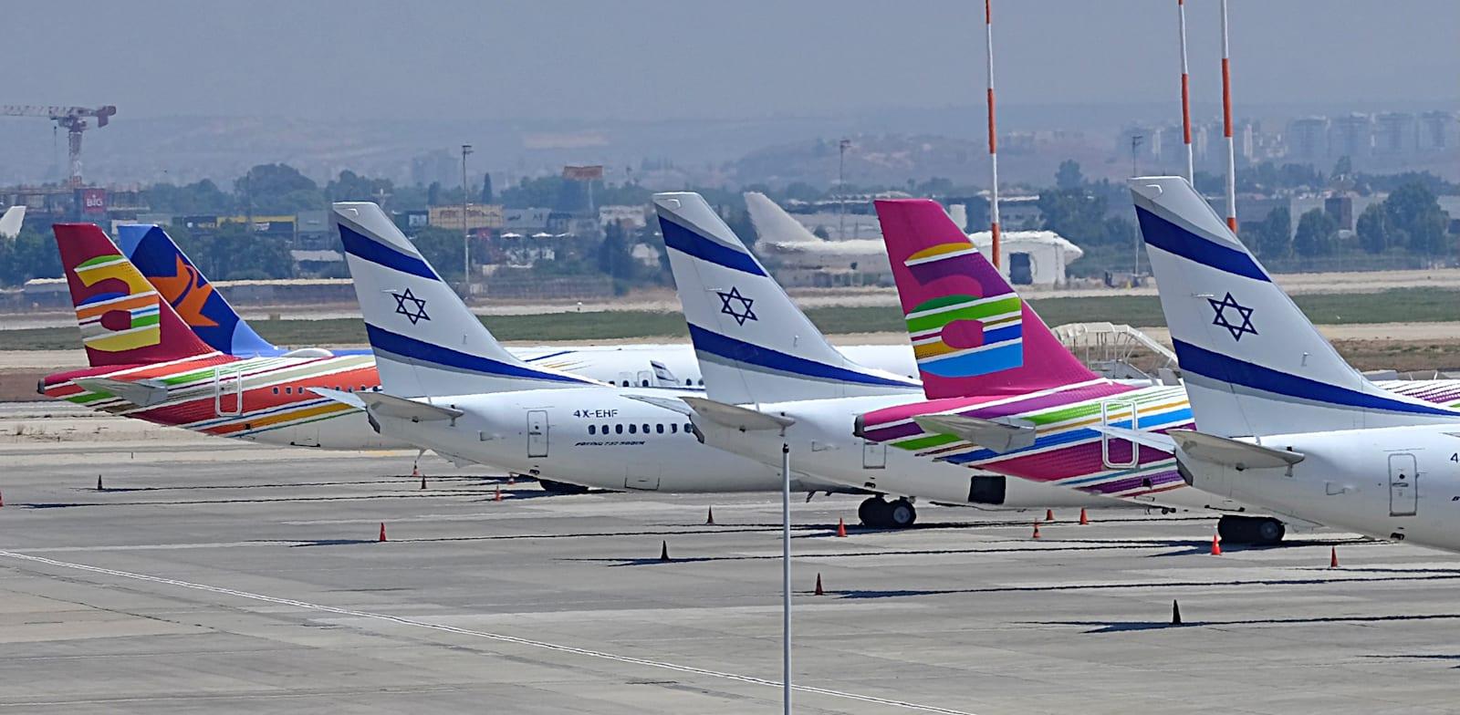 El Al, Arkia and Israir planes at Ben Gurion Airport  credit: Danny Sadeh