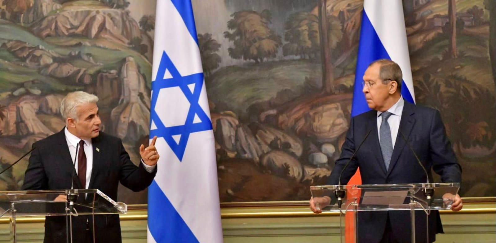 יאיר לפיד ושר החוץ של רוסיה, סרגיי לברוב / צילום: שלומי אמסלם, לע''מ