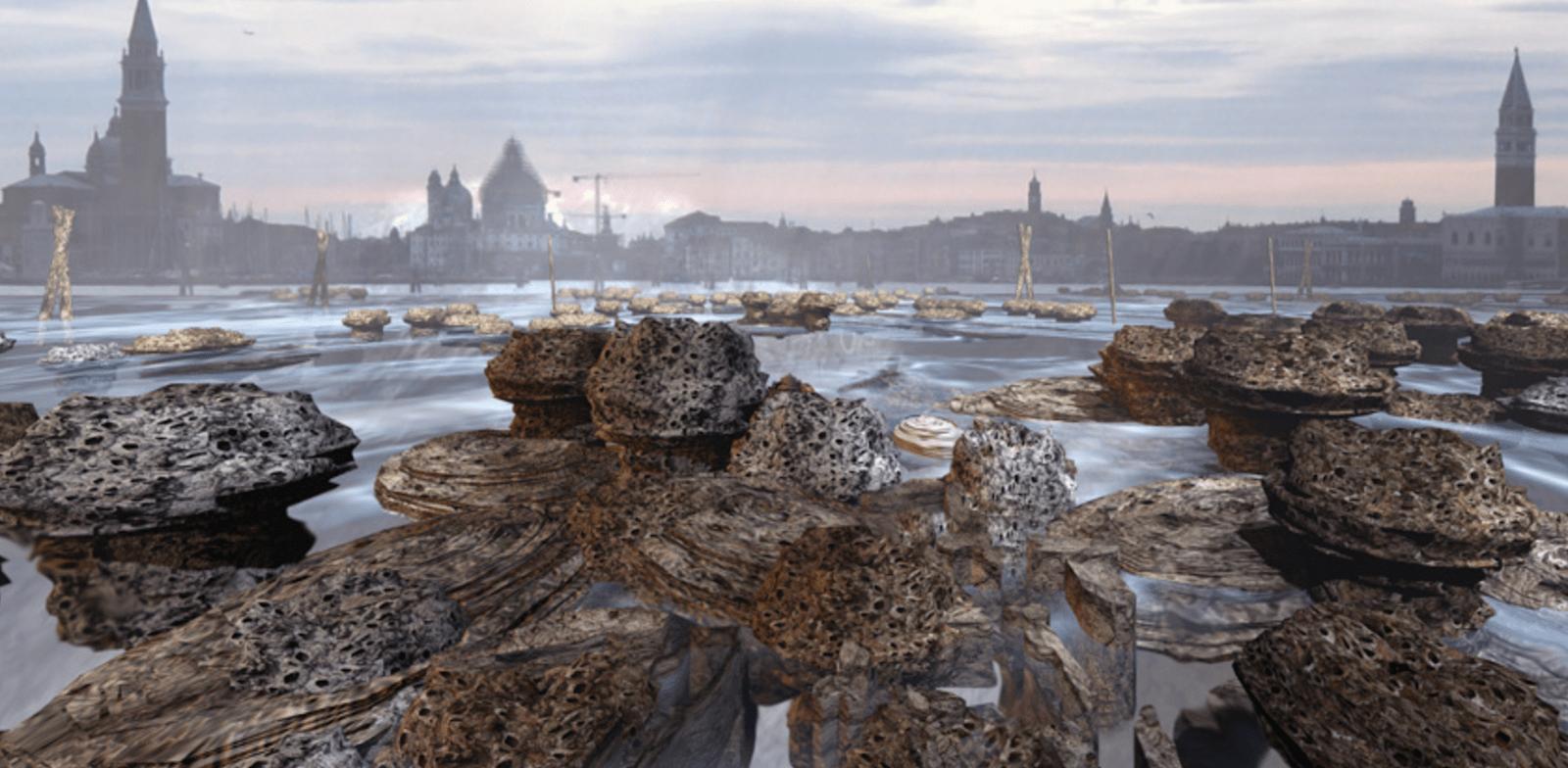 ''ונציה של העתיד'',  שונית אלמוגים סינתטית ענקית למניעת שקיעתה של ונציה. פרויקט של פרופ' רייצ'ל ארמסטרונג / צילום: הדמית מחשב של Christian Kerrigan
