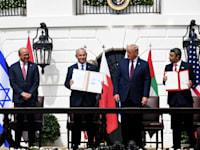 נתניהו, טראמפ, בן ראשיד ובן זאיד בטקס החתימה על הסכמי אברהם. ספטמבר 2020 / צילום: אבי אוחיון - לע''מ