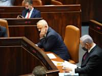 בני גנץ ובנימין נתניהו בהצבעה לפיזור הכנסת / צילום: דני שם טוב - דוברות הכנסת