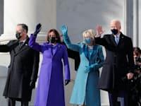 ג'ו וג'יל ביידן לצד קמלה האריס ובעלה דאגלס אמהוף לפני טקס ההשבעה / צילום: Reuters, Mike Segar