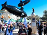 הפגנה בדרישה לחקור את פרשת הצוללות / צילום: רפי קוץ