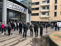 עובדי פסגות במסגרת העיצומים נגד עסקת המכירה / צילום: תמונה פרטית
