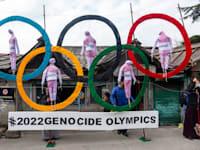 טיבטים מוחים נגד האולימפיאדה בסין. הטבעות מייצגות הפרת זכויות בטייוואן, טיבט, הונג קונג, מונגוליה, ונגד המיעוט האויגורי / צילום: Associated Press, Ashwini Bhati