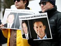 מחאה לשחרורם של מייקל קורביג ומייקל ספאבור, שני קנדים שנכלאו בסין ונמצאים במרכז תקרית דיפלומטית בינלאומית / צילום: Reuters, לינדסי וואסון