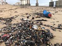התצטברות זפת על החוף / צילום: מרכז למחקר סביבתי חיפה