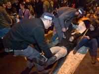הפגנה מול משרד הביטחון במחאה על הריגת מפגינה נגד גדר ההפרדה בכפר בילעין / צילום: דימה וזינוביץ