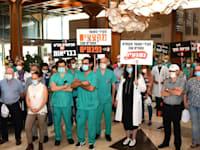 """הפגנה בבית החולים תל השומר / צילום: הר""""י"""