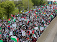 הפגנה פרו־פלסטינית במישיגן, השבוע / צילום: Reuters