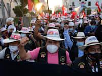 מפגן תמיכה במועמד פדרו קסטיו בלימה, מוקדם יותר השבוע / צילום: Associated Press, Martin Mejia