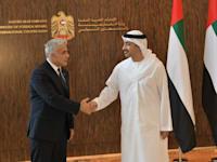 שר החוץ של האמירויות עבדאללה בין זאייד ושר החוץ יאיר לפיד / צילום: שלומי אמסלם-לע''מ