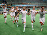 נבחרת דנמרק לאחר שעלתה לחצי הגמר / צילום: Reuters