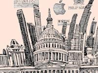 אמריקה התאגידית / איור: גיל ג'יבלי