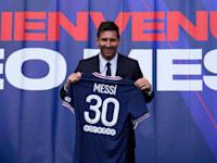 ליונל מסי עם מדי הנבחרת של פריז סן ז'רמן / צילום: Associated Press, Francois Mori