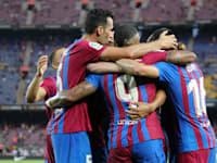 שחקני ברצלונה חוגגים ניצחון במשחקי הליגה הספרדית, השבוע / צילום: Reuters