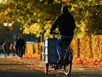 אדם רוכב על אופני משא בברלין / צילום: Reuters, Annegret Hilse