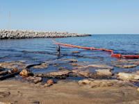 הזיהום בחופי אשדוד. אלפי ליטרים של שמן הוזרמו לים / צילום: פרד ארזואן, המשרד להגנת הסביבה