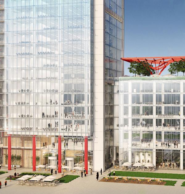 המבנה החדש שיוקם למשרדי ההנהלה הראשית של בנק הפועלים / הדמיה: ישר אדריכלים