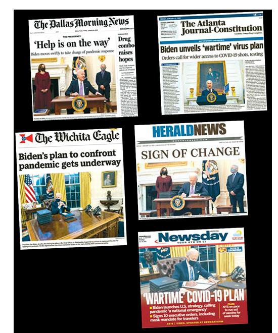 כותרות בעיתונים שמבטאות את היחס לקצב הפעילות של ביידן במאה השעות הראשונות