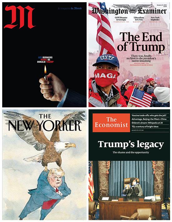 שערי העיתונים הגדולים. נפרדים מטראמפ / צילום: צילומי מסך מתוך אפליקציות